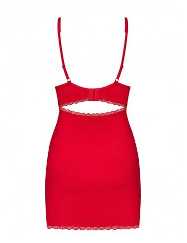 Lingerie - Nuisettes - Nuisette rouge passion et intemporel avec dentelle fleurie Jolierose - Obsessive