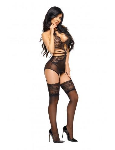 Lingerie - Nuisettes - Nuisette en tulle noire transparente et dentelle Aliyah - Beauty Night