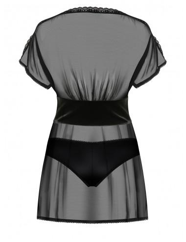 Lingerie - Nuisettes - Nuisette Babydoll noire transparent et dentelle 868-BAB-1 - Obsessive