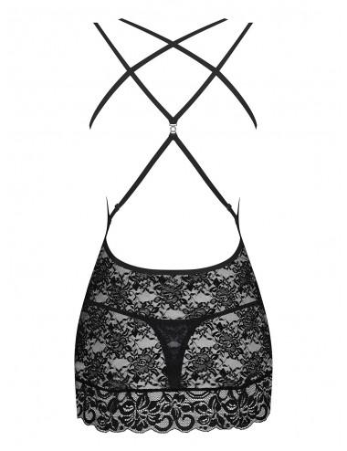 Lingerie - Nuisettes - Nuisette en dentelle noire motif floral transparente 860-CHE-1 - Obsessive
