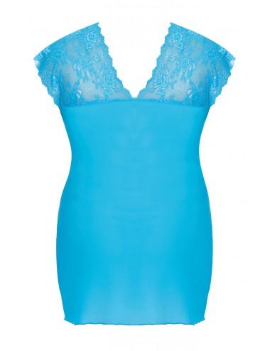 Lingerie - Grande Tailles - Nuisette turquoise sensuelle avec une dentelle délicate et décolleté profond Ofeely - Anaïs