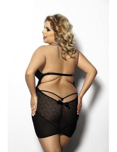 Lingerie - Grande Tailles - Nuisette sexy noire large décolleté et dos nu Amysa - Anaïs