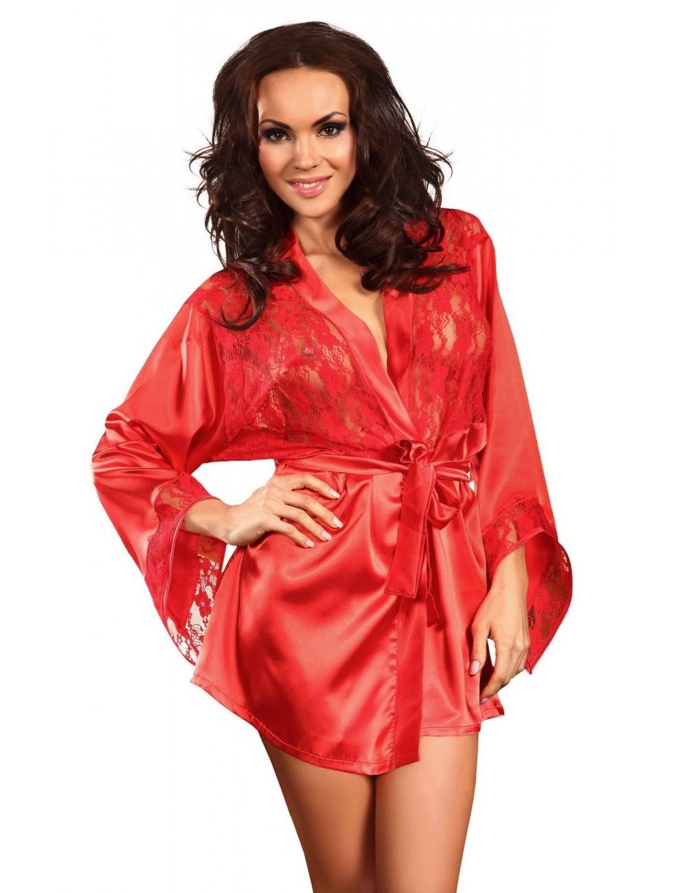 Lingerie - Peignoirs et Déshabillés - Peignoir rouge en satin et dentelle avec ceinture Prilance - Beauty Night