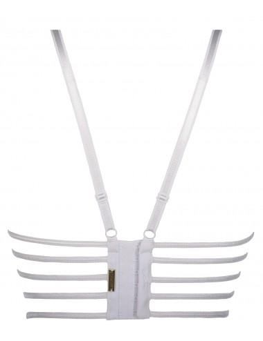 Lingerie - Soutien-Gorge - Soutien-gorge semi-corset blanche avec dentelle à motif floraux V-8231 - Axami