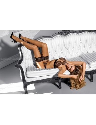 Lingerie - Soutien-Gorge - Soutien-gorge en dentelle noire et fine maille couleur chair Creme brulee V-7870 - Axami