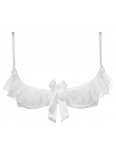 Lingerie - Soutien-Gorge - Soutien-gorge blanche demi-bonnets avec nœud satin Shine V-7251 - Axami