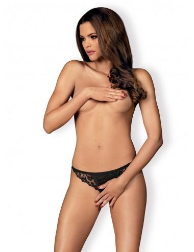 Lingerie - Boxers, strings, culottes - String sexy en dentelle noire ouverte Letica - Obsessive