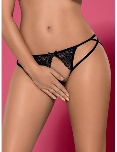 Lingerie - Boxers, strings, culottes - String noire en dentelle ouvert à l'entrejambe et bandes élastiques Picantina - Obsessive