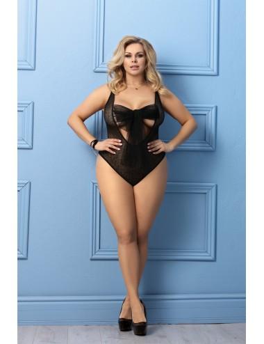 Lingerie - Grande Tailles - Body noire en fine dentelle à motifs fantaisie Iona - AN-40001 - Anaïs