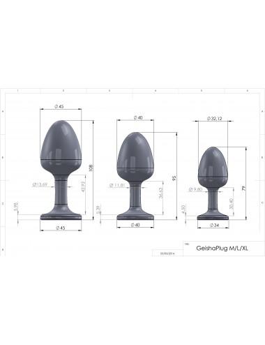 Sextoys - Plugs - Plug Anal effet boules de geisha Orné d'un cristal synthétique Diamond M Noir et Blanc - Dorcel