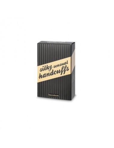 Sextoys - Masques, liens et menottes - Menottes sensuelles et Liens en satin noire - BI-03314 - Bijoux Indiscrets