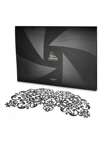 Sextoys - Masques, liens et menottes - Masque vinyle noire avec adhésif réutilisable Dalila - Bijoux Indiscrets