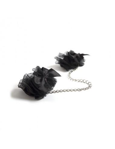 Sextoys - Masques, liens et menottes - Menottes sophistiquées à Frou Frou noire - BI1470 - Bijoux Indiscrets