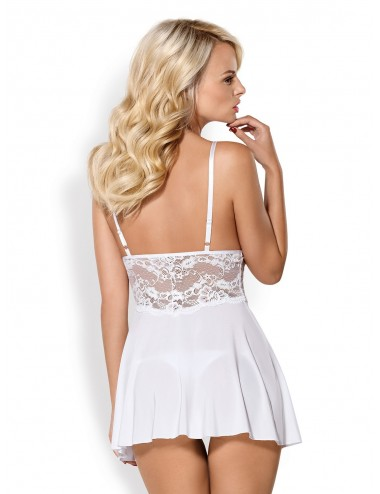 Lingerie - Nuisettes - 810-BAB-2 Babydoll - Blanc - Obsessive