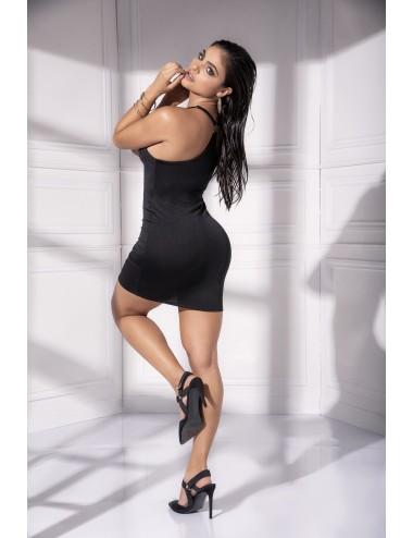 Lingerie - Robes et jupes sexy - Robe noire décolleté plongeant et anneaux métalliques ornant les bretelles Style 4536 - Mapalé