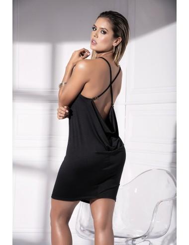 Lingerie - Robes et jupes sexy - Robe noire avec décolleté plongean et bretelles entrecroisées Style 4535 - Mapalé
