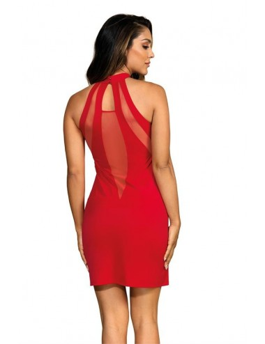 Lingerie - Robes et jupes sexy - Robe rouge en microfibre et tulle combinés de découpes uniques V-9259 - Axami