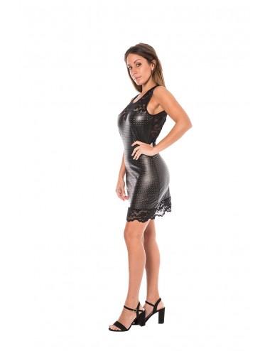 Lingerie - Robes et jupes sexy - Robe cocktail simili cuir noire finement ajouré - LM-0001 - Look Me