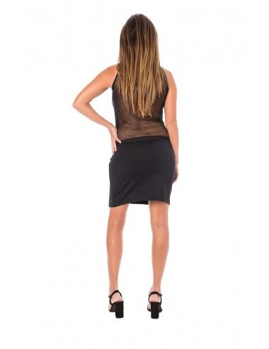 Lingerie - Robes et jupes sexy - Robe cocktail dos et décolleté résille noire semi-transparence - LM-0005 - Look Me