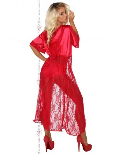 Lingerie - Peignoirs et Déshabillés - Peignoir satiné rouge vive avec dentelle Electra - Beauty Night