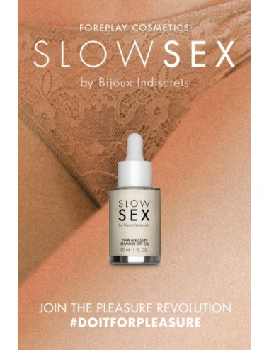 Huile intime sèche brillante - Slowsex - 30ml - Plaisirs Intimes - Bijoux Indiscrets