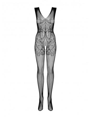 Lingerie - Combinaisons - Bodystocking en résille noire avec motif et découpes soigneusement F234 - Obsessive