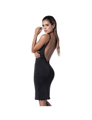 Lingerie - Robes et jupes sexy - Robe noire avec lacets croisés - MAL4538BLK - Mapalé
