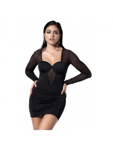 Lingerie - Robes et jupes sexy - Robe moltonnée avec armatures sur la poitrine - MAL4537BLK - Mapalé