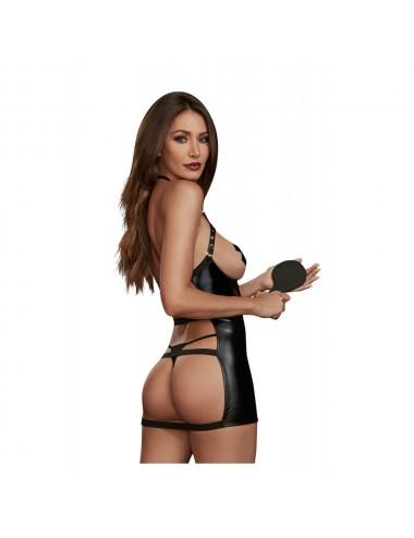 Lingerie - Nuisettes - nuisette en simili cuir stretch BDSM - DG11852BLK - Dreamgirl