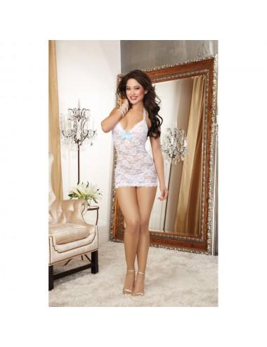 Lingerie - Nuisettes - Nuisette en dentelle blanche à motif florale et dos nu avec nœud satin - Dreamgirl