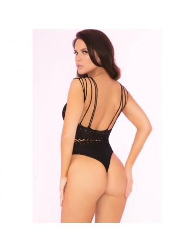 Lingerie - Bodys - Body string fine maille noire extensible ajouré - PLK27020BLK - Pink Lipstick