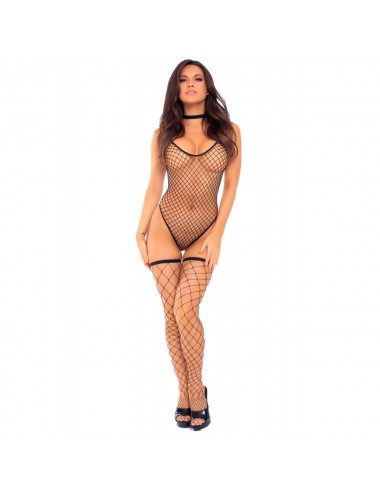 Lingerie - Bodys - Body filet noir avec bas assortis - PLK27030BLK - Pink Lipstick