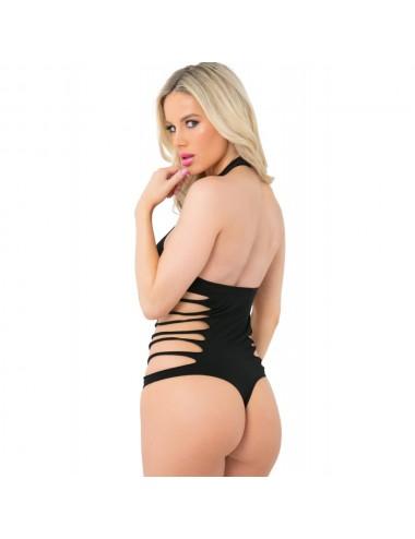 Lingerie - Bodys - Body string noir extensible ras de cou résille côtés ajourés - PLK20027-BLK - Pink Lipstick