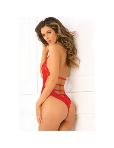 Lingerie - Bodys - Body string rouge échancré en dentelle - REN502138-RED - René Rofé