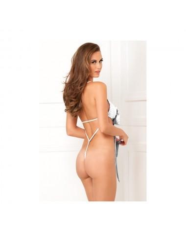 Lingerie - Bodys - Body en en satin blanche ouverte dans le dos et large nœud - René Rofé
