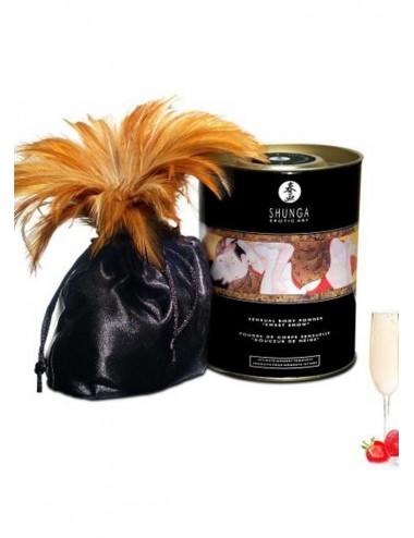 Poudre de massage corporelle comestible vin pétillant fraise 228grs - CC3004 - Huiles de massage - Shunga