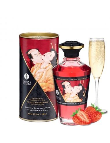 Huile chauffante fraise comestible 100ml - CC812008 - Huiles de massage - Shunga