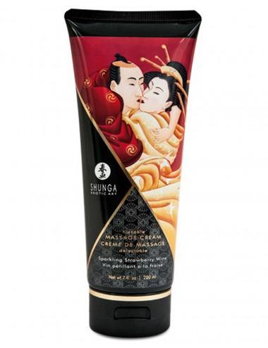 Crème hydrante de massage fraise vin pétillant 200ml - CC814108 - Huiles de massage - Shunga