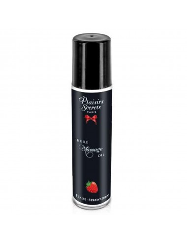 Huile de massage comestible fraise 59ml - CC826007 - Huiles de massage - Plaisirs Secrets