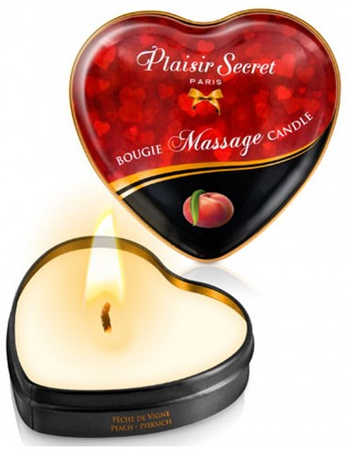 Mini bougie de massage pêche de vigne boîte coeur 35ml - CC826069 - Bougies de massage - Plaisirs Secrets