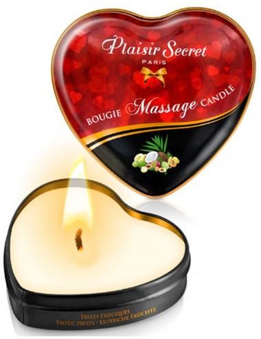 Mini bougie de massage fruits exotiques boîte coeur 35ml - CC826067 - Bougies de massage - Plaisirs Secrets