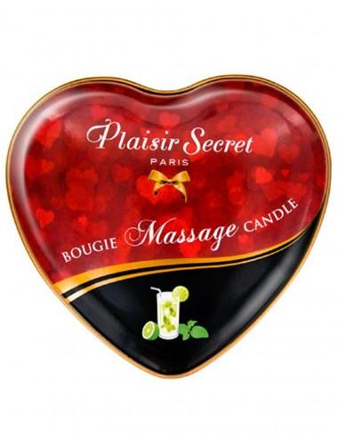 Mini bougie de massage mojito boîte coeur 35ml - CC826066 - Bougies de massage - Plaisirs Secrets