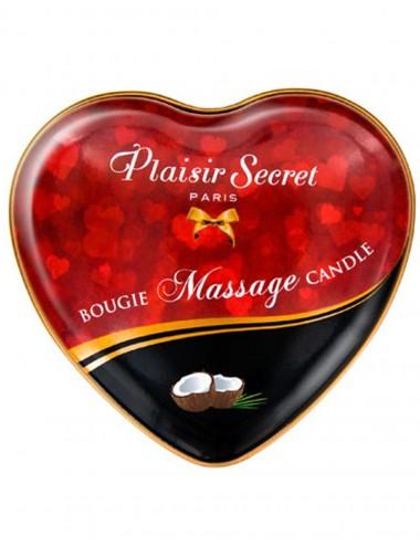 Mini bougie de massage érotique noix de coco boîte cœur 35ml - CC826065 - Bougies de massage - Plaisirs Secrets