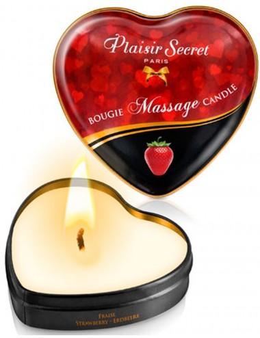 Mini bougie de massage fraise boîte coeur 35ml - CC826064 - Bougies de massage - Plaisirs Secrets