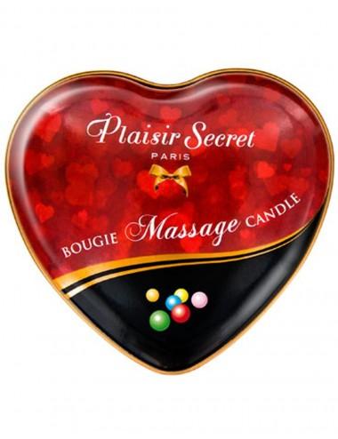 Mini bougie de massage érotique bubble gum boîte coeur 35ml - CC826063 - Bougies de massage - Plaisirs Secrets