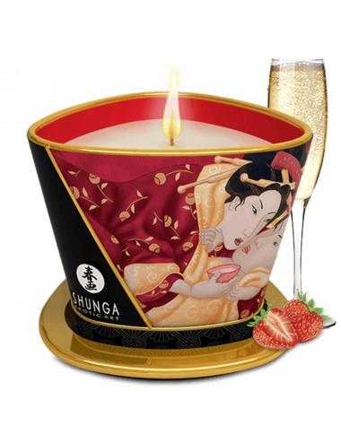Bougie de massage fraise vin pétillant 170ml - CC824508 - Bougies de massage - Shunga