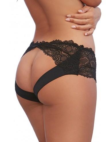 Lingerie - Boxers, strings, culottes - Shorty noir en dentelle sur le devant et ouverte sur l'arrière - DG1462BLK - Dreamgirl