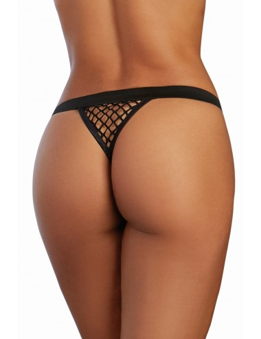 Lingerie - Boxers, strings, culottes - String noir filet - DG1449BLK - Dreamgirl