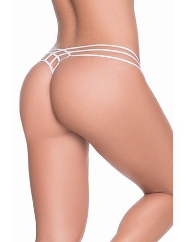 Lingerie - Boxers, strings, culottes - String blanc élégant triple lanières - MAL101WHT - Mapalé