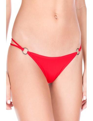 Lingerie - Boxers, strings, culottes - String rouge double élastiques anneaux et noeuds - ML10009RED - Music Legs